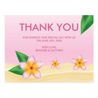 Het roze Tropische Huwelijk Frangipani dankt u Briefkaart