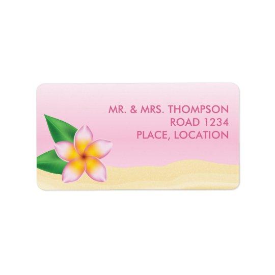Het roze Tropische Huwelijk van het Strand van de Addressticker