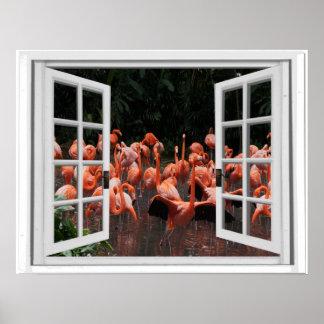 Het roze Uitzicht van het Venster van Flamingo's Poster