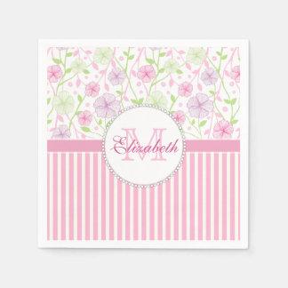 Het roze van de pastelkleur, paars, bloemen, roze wegwerp servetten