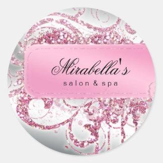 Het Roze van de Salon van de spijker schittert Ronde Sticker