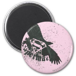 Het roze van de superman met vogel ronde magneet 5,7 cm