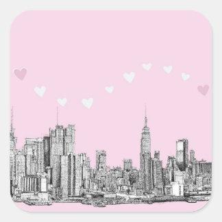 Het roze van de valentijnskaart NYC Vierkant Stickers