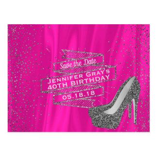 Het Roze van Glam redt de Datum de Elegante Partij Briefkaart
