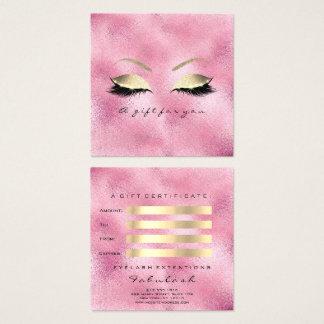 Het Roze van het Certificaat van de gift schittert Vierkante Visitekaartjes