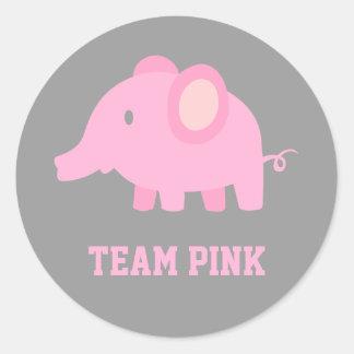 Het Roze van het team, de Olifant van het Meisje Ronde Stickers