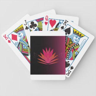 Het roze van Lotus op zwarte Poker Kaarten