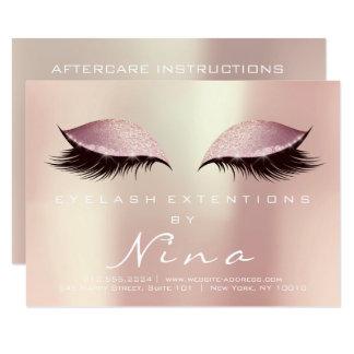 Het Roze van Nina Lashes Extension Aftercare Kaart