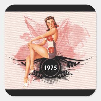 Het roze van Pinup Vierkante Sticker