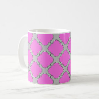 Het roze van Quatrefoil en grijs Koffiemok