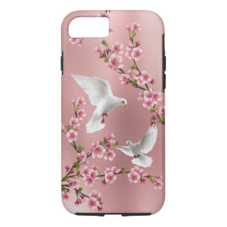 Het roze Vintage Schilderen van de Bloesem van de iPhone 7 Hoesje
