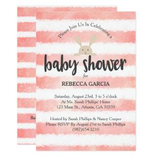 Het roze Witte Baby shower van het Konijntje van Kaart