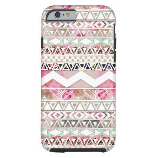 Het Roze Witte Bloemen Abstracte Azteekse Patroon Tough iPhone 6 Hoesje