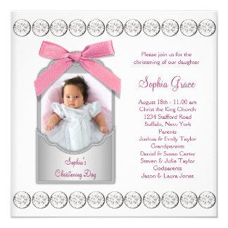 Het roze Witte Doopsel van de Foto van het Meisje 13,3x13,3 Vierkante Uitnodiging Kaart