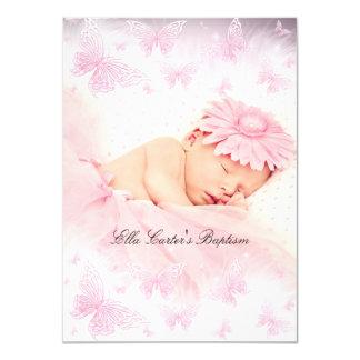 Het roze & Witte Doopsel van het Doopsel van de 11,4x15,9 Uitnodiging Kaart
