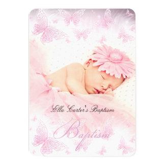 Het roze Witte Doopsel van het Doopsel van de 11,4x15,9 Uitnodiging Kaart