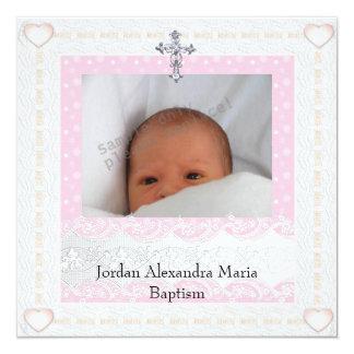 Het roze Witte DwarsDoopsel van het Juweel van het 13,3x13,3 Vierkante Uitnodiging Kaart