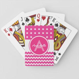 Het roze Witte Gepersonaliseerde Monogram van de Pokerkaarten