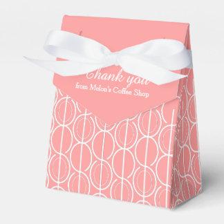 Het roze witte verbonden ovale patroon dankt u bedankje doosje