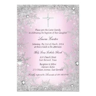 Het roze Zilveren Doopsel/het Doopsel van de 12,7x17,8 Uitnodiging Kaart