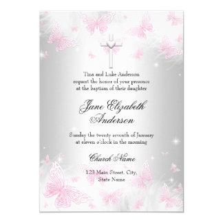 Het roze Zilveren DwarsDoopsel van de Vlinder 12,7x17,8 Uitnodiging Kaart
