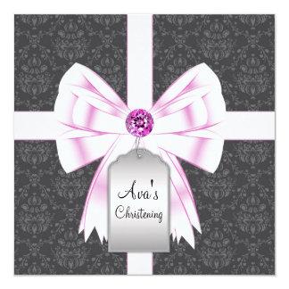 Het roze Zwarte Baby die van het Damast 13,3x13,3 Vierkante Uitnodiging Kaart