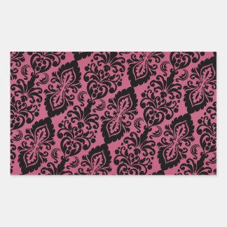 Het roze Zwarte Overgehelde Victoriaans Patroon Rechthoekvormige Sticker