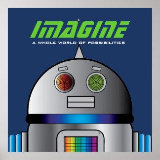 het ruimte ROBOT gepersonaliseerde kinder poster