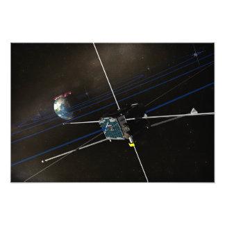 Het ruimtevaartuig vijf THEMIS in baan Fotoafdruk
