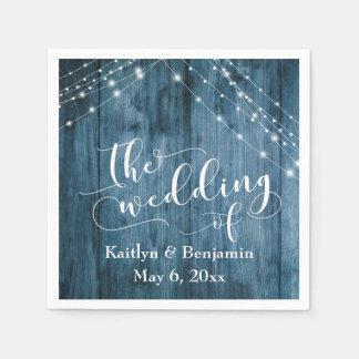 Het rustieke Blauwe Houten, Witte Lichte Huwelijk Papieren Servet