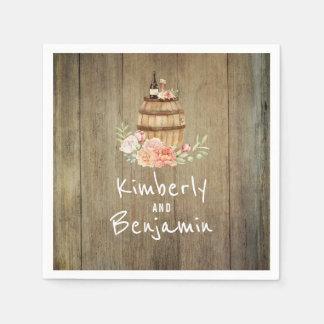 Het Rustieke Bloemen Houten Huwelijk van het Papieren Servetten