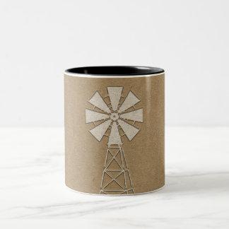 Het rustieke Bruine Moderne Land van de Windmolen Tweekleurige Koffiemok