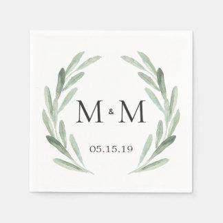 Het rustieke Groene Huwelijk van het Monogram van Wegwerp Servet