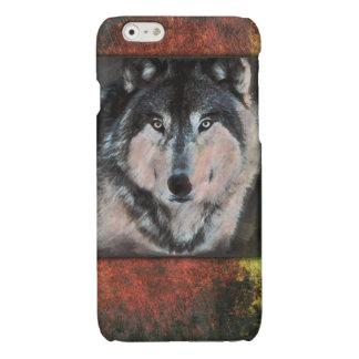Het rustieke het Schilderen van de Wolf van het Glossy iPhone 6 Hoesje