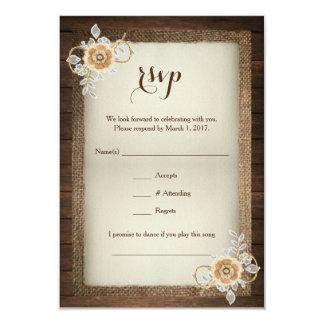 Het rustieke Houten Huwelijk RSVP van de Jute & 8,9x12,7 Uitnodiging Kaart