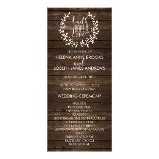 Het rustieke Houten Programma van het Huwelijk 10,2x 22,9 Cm Reclamekaart
