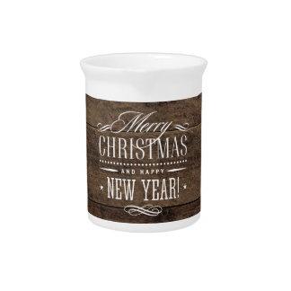 Het rustieke Houten Vrolijke Decor van Kerstmis Drink Pitcher