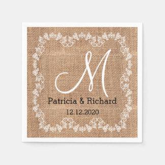 Het rustieke Monogram van het Huwelijk van de Jute Papieren Servet