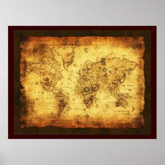 Het rustieke Oude (grote) Poster van de Kaart van
