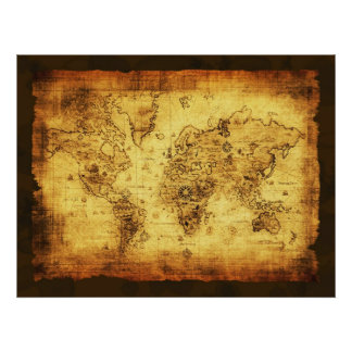 Het rustieke Oude Poster van de Kaart van de