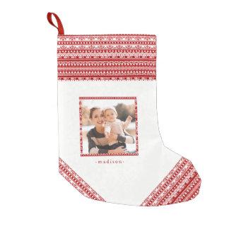 Het rustieke Patroon van de Vakantie met voegt de Kleine Kerstsok