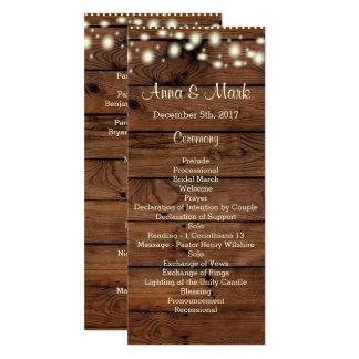 Het rustieke Programma van het Huwelijk, het 10,2x23,5 Uitnodiging Kaart