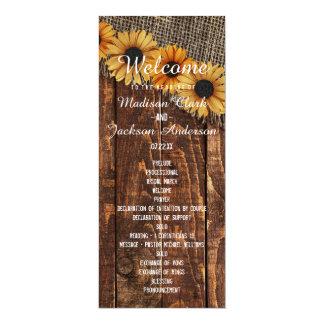 Het rustieke Programma van het Huwelijk van de 10,2x23,5 Uitnodiging Kaart