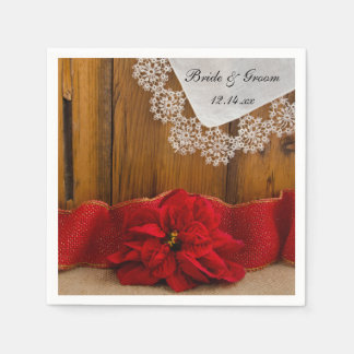 Het rustieke Rode Huwelijk van de Winter van het Papieren Servet