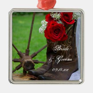 Het rustieke Rode Westerne Huwelijk van het Land Zilverkleurig Vierkant Ornament