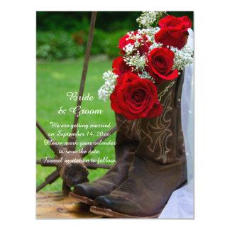 Het rustieke Rood nam het Huwelijk van de Laarzen Magnetische Kaart