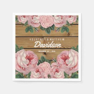 Het rustieke Vintage Roze nam Huwelijk toe Papieren Servet