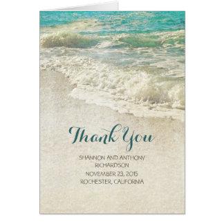 het rustieke vintage strandhuwelijk dankt u kaart