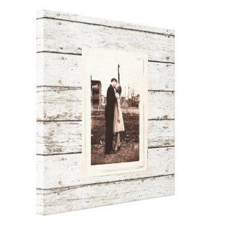 het rustieke vintage witte huwelijk van de schuur canvas print