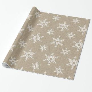 Het rustieke Witte Patroon van de Sneeuwvlok van Cadeaupapier
